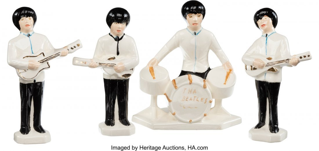 89392: The Beatles Set of Four Ceramic Figurines With I