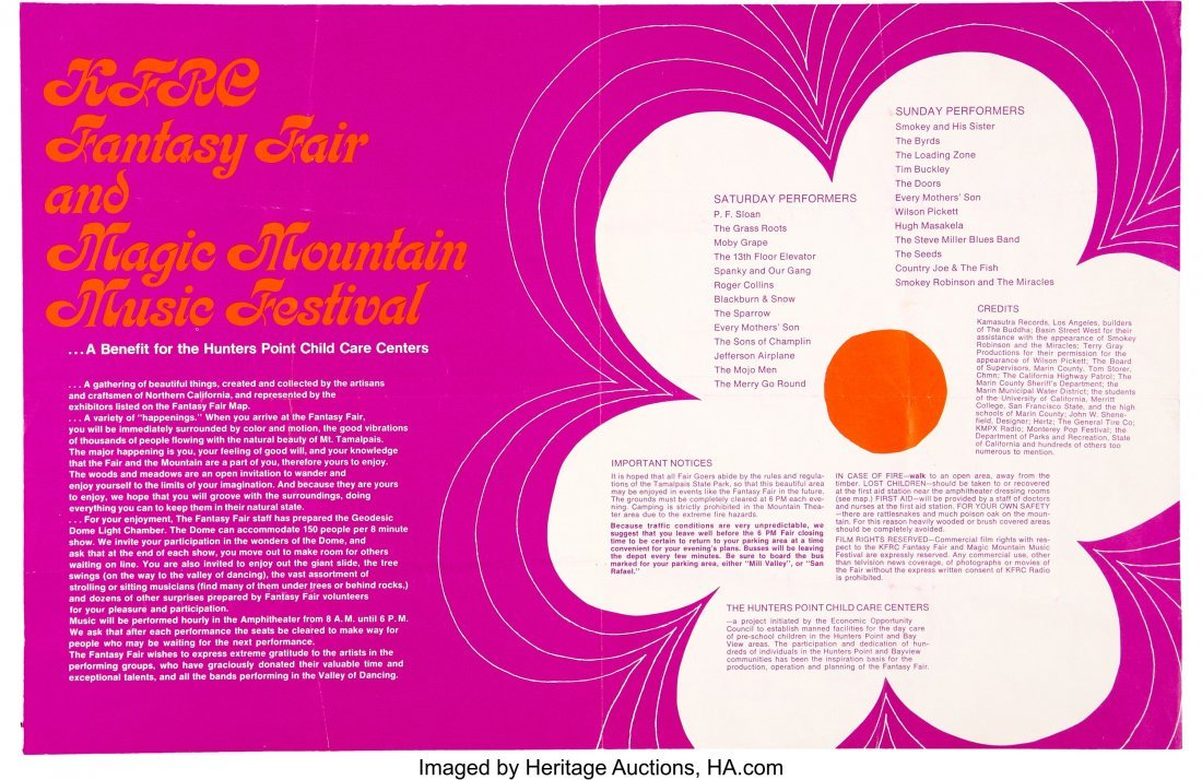 89537: The Doors, Jef Airplane, Byrds 1967 S.F. Magic M