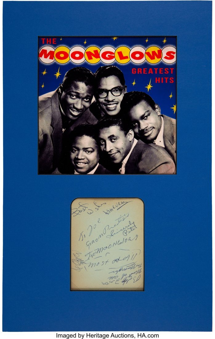 89907: The Moonglows Signed Paper Matted With a Promo P