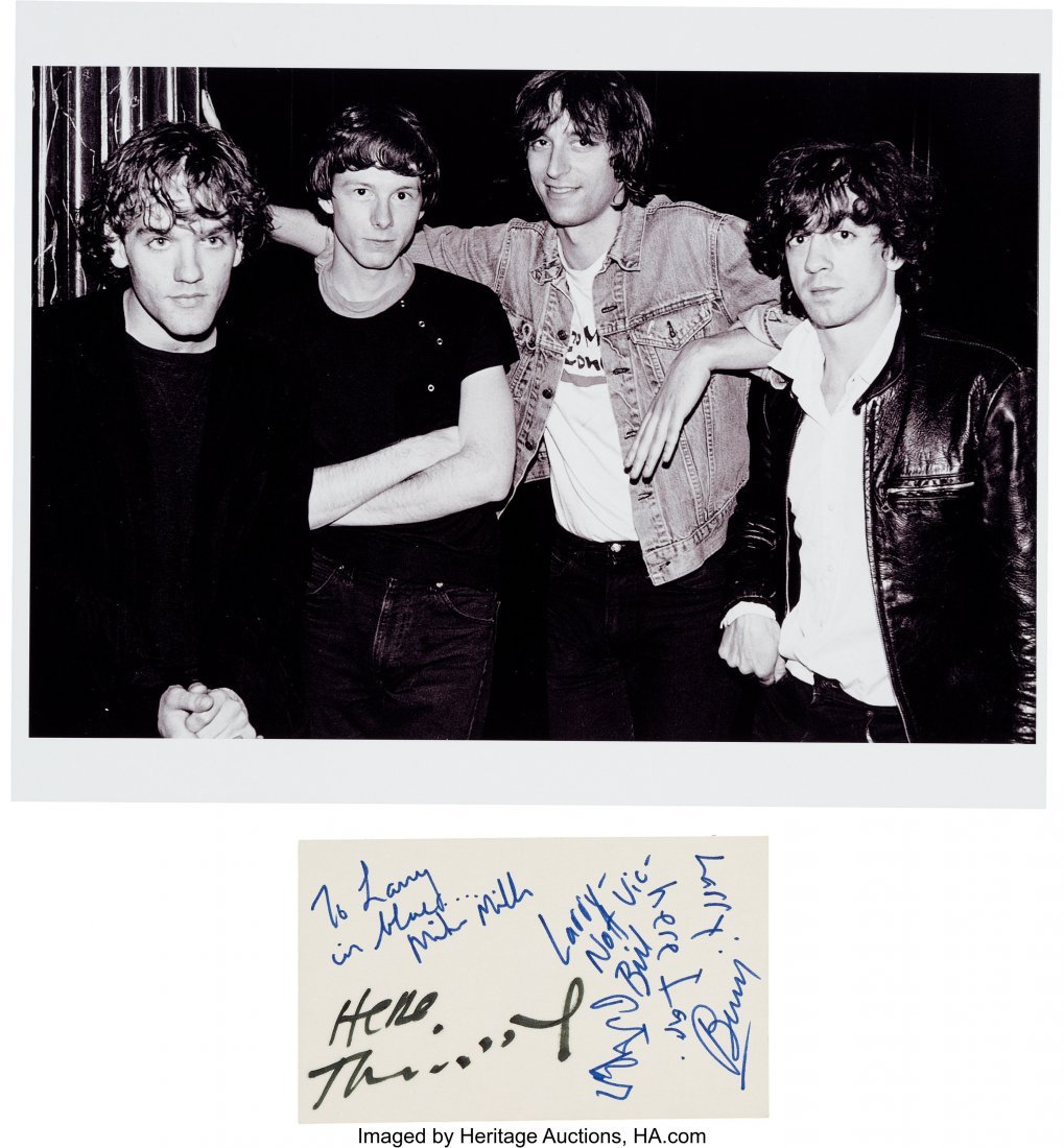 """89920: R.E.M. Signed Card.  A 3"""" x 5"""" card signed by Mi"""