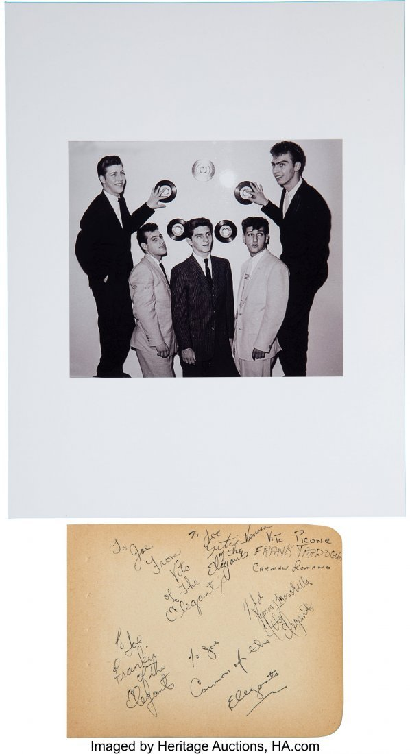 89772: The Elegants Signed Page.  A piece of paper that