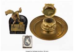27150 Two Continental Brass Figural Ashtrays and an Er