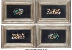 61042: A Set of Four Framed Italian Pietra Dura Plaques