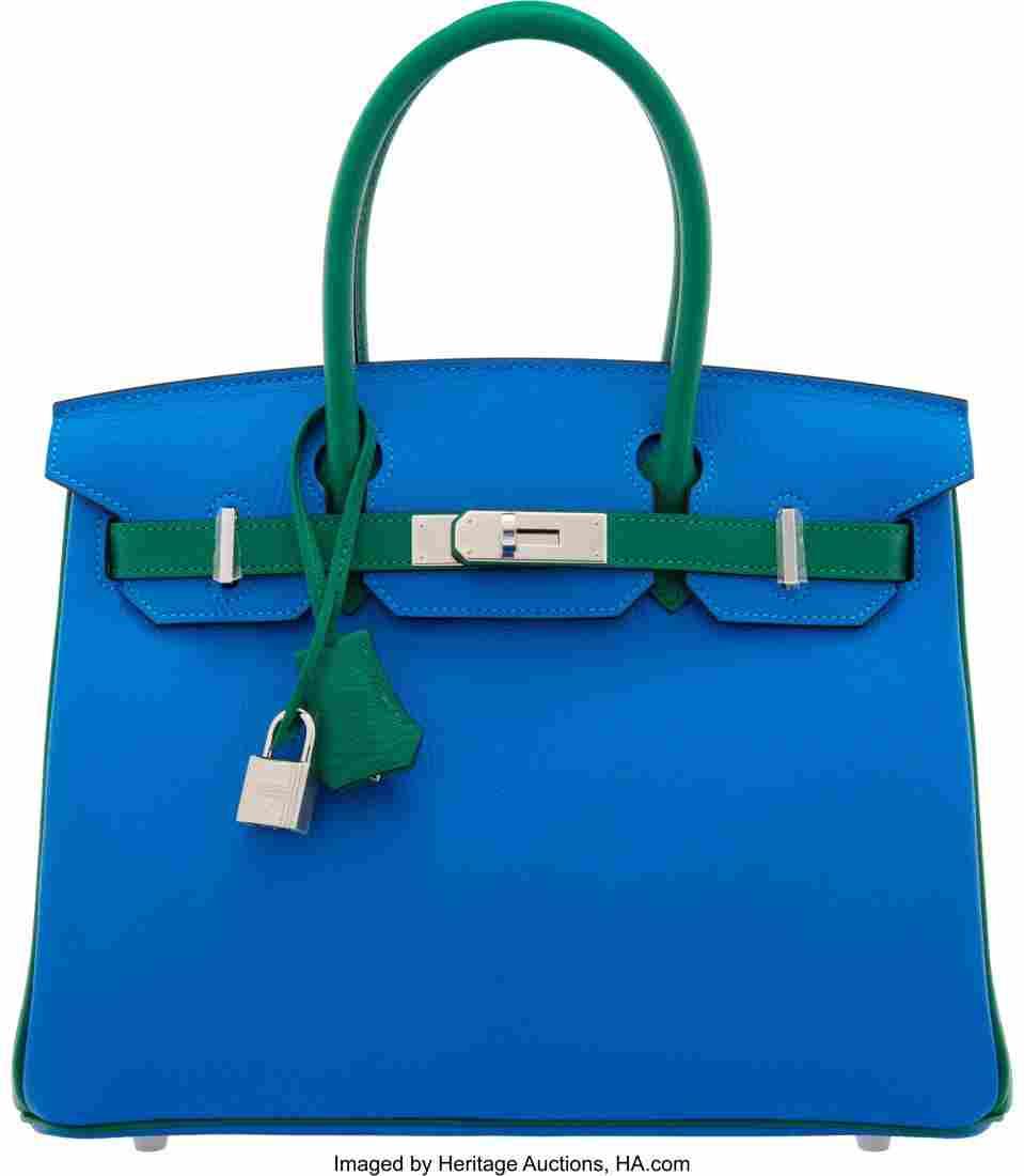 58016: Hermès Special Order Horseshoe 30cm Blue