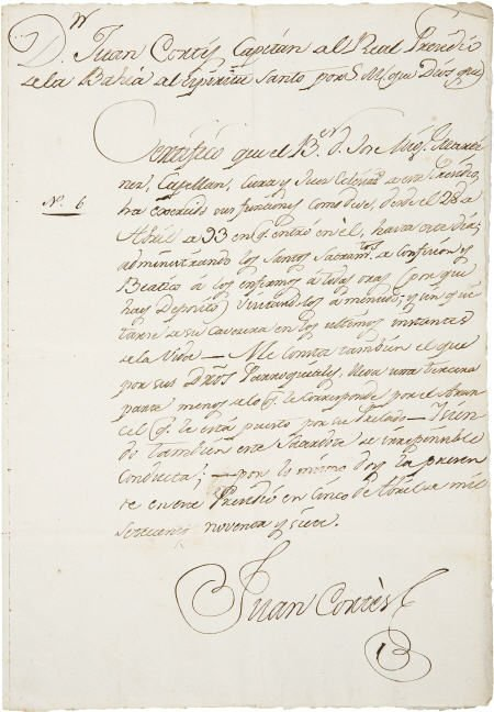 45001: Juan Cortez Document Signed as captain of the ro