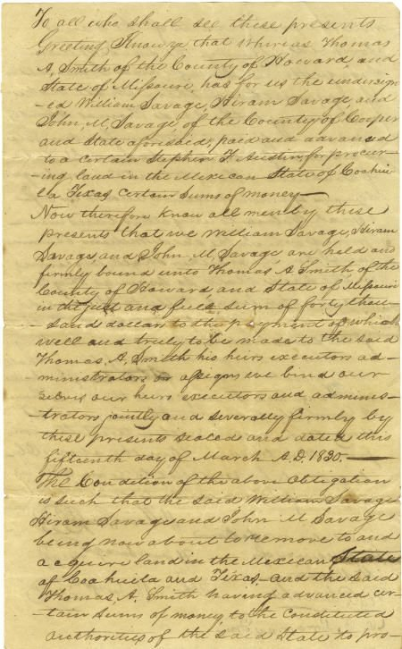 45003: [Stephen F. Austin] Land Scrip Manuscript Docume
