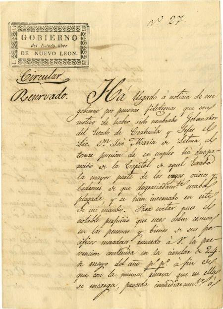 45004: [Coahuila y Tejas] Governor Joaquín García Manus