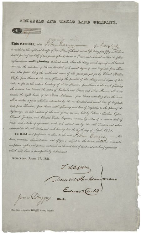 45005: Arkansas and Texas Land Company. One page partia
