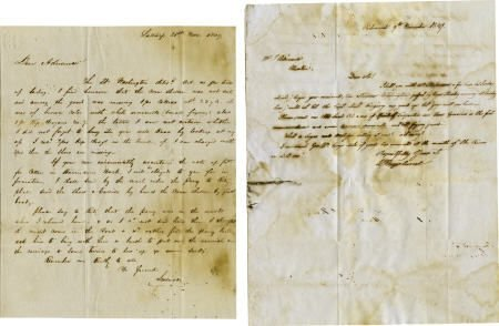 45010: [John Adriance] Two Autograph Letters Signed, In