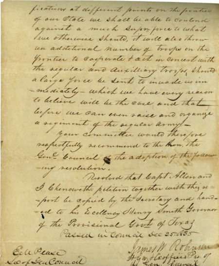 45015: [Texas Revolution] James W. Robinson and E. M. P