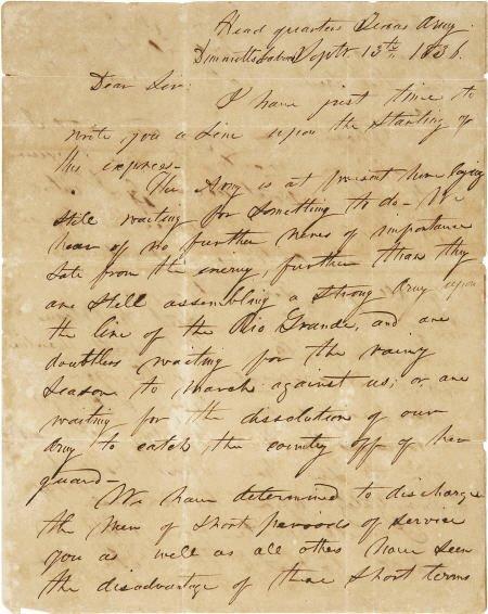 45020: [Texas Republic] Thomas Jefferson Green Autograp