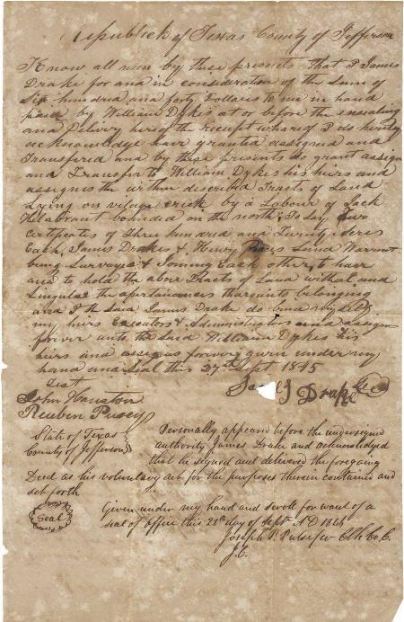 45023: [Republic of Texas] Joseph P. Pulsifer Land Deed