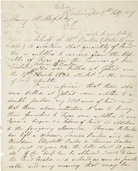 45024: [Texas Revolution: Henry M. Morfit] Autograph Le