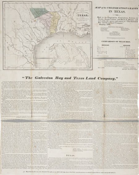 45026: Broadside with Map: Galveston Bay and Texas Land