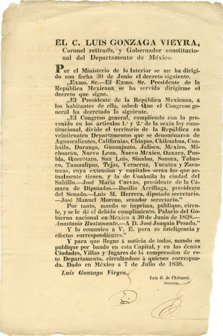 45225: Broadside: Luis Gonzaga Vieyra Document Signed,