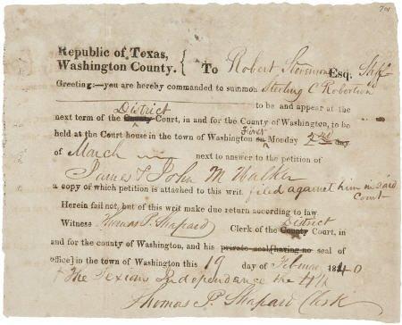 45229: [Republic of Texas] Partially Printed Washington