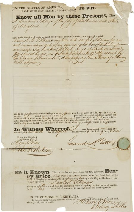 45231: Texian Scrip Certificate: Document Signed by Lam
