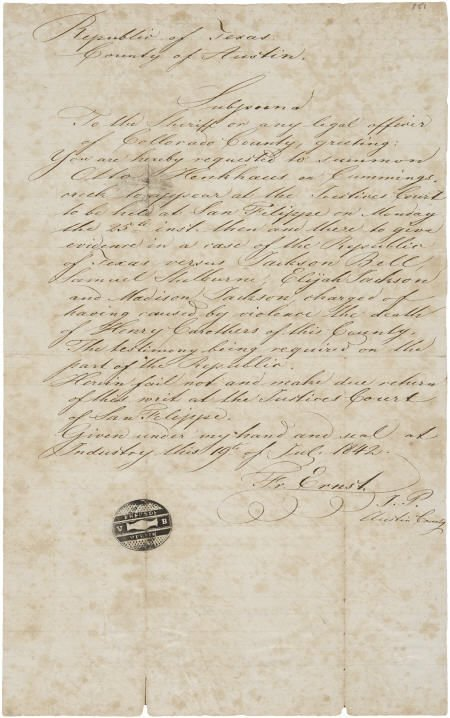 45233: [Republic of Texas Subpoena] Friedrich Ernst Aut