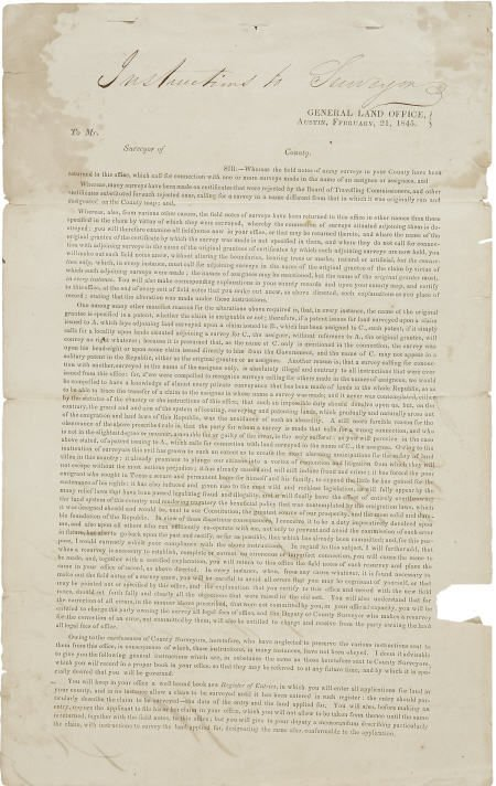 45234: [Texas Republic] General Land Office Document Si