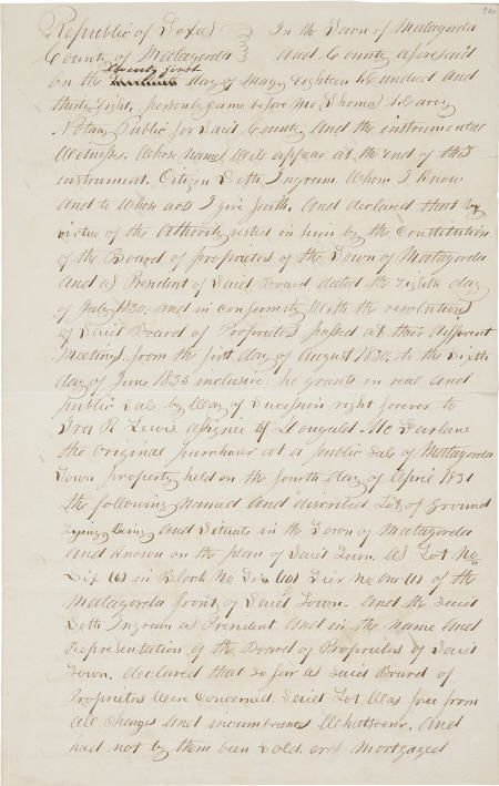 45236: [Republic of Texas] Matagorda Land Transaction.