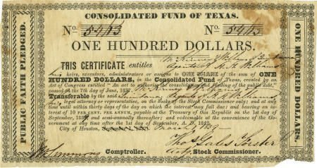 45237: [Texas Republic] Consolidated Fund of Texas. One