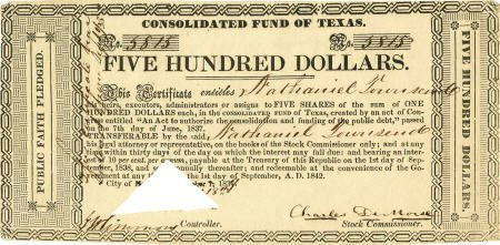45238: [Texas Republic] Consolidated Fund of Texas. One