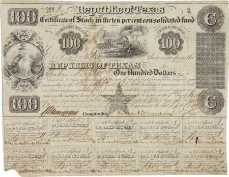 45239: Republic of Texas $100 Stock Certificate. One pa