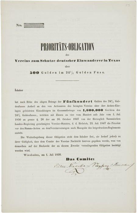 45240: [German Colonization of Texas Document] Verein z