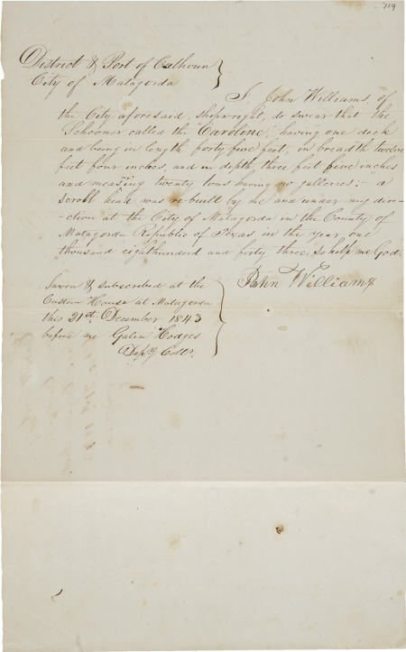 45242: [Republic of Texas] John Williams Shipwright's A