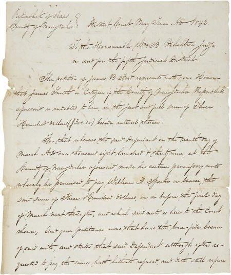 45245: [Texas Republic] Charles S. Taylor Legal Documen