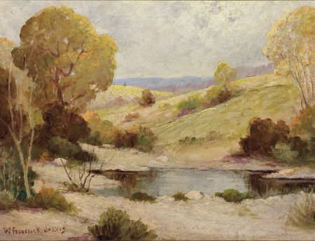 67321: WILLIAM FREDERICK JARVIS Landscape and Pond Oil