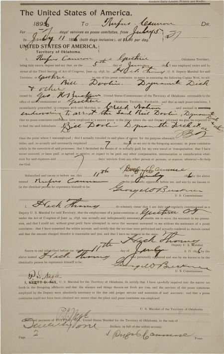 "43014: Gunfighter Henry A. ""Heck"" Thomas Document Signe"