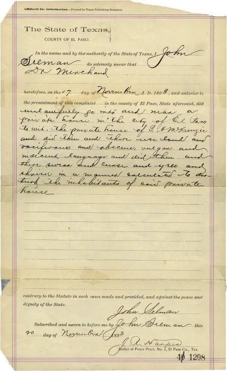 43021: John Selman Document Signed, El Paso County, Tex