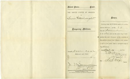 43022: U.S. Marshal Evett Dumas Nix 1894 Document Signe