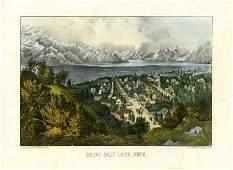 "43052: Currier & Ives ""Great Salt Lake, Utah"" Hand-Colo"