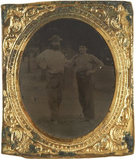 43455: Gem Tintype of Two Loggers, circa 1860. Two unid