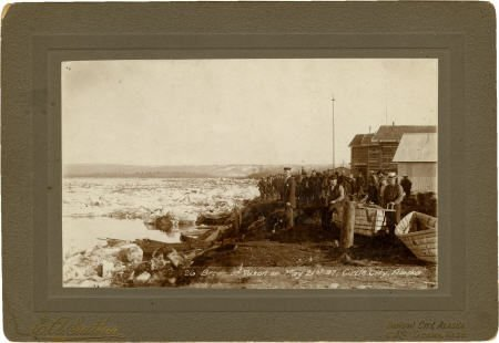 43468: Photograph: Men Standing on the Frozen Yukon Riv