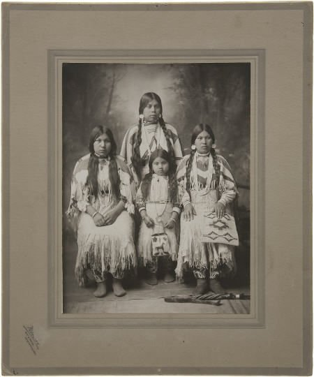 43517: Imperial Cabinet Card of Four Nez-Perce Indians,