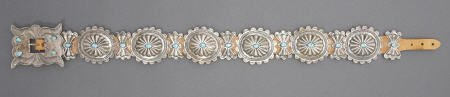 55003: A NAVAJO SILVER AND TURQUOISE CONCHO BELT c. 194
