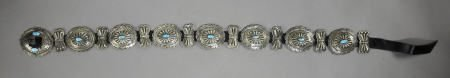 55004: A NAVAJO SILVER AND TURQUOISE CONCHO BELT c. 197