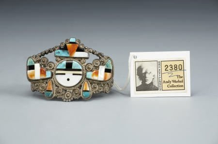 55006: A ZUNI SILVER, STONE, AND SHELL BRACELET c. 1950