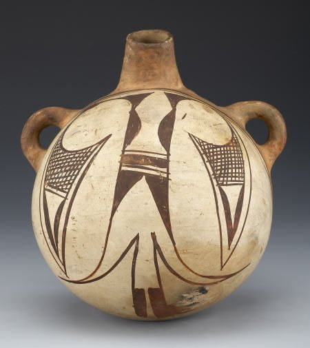 55008: A HOPI POLYCHROME CANTEEN c. 1900  painted in bl