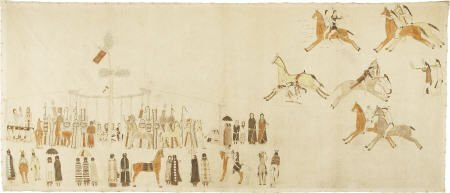 55109: A SIOUX PAINTED PICTOGRAPHIC MUSLIN c. 1895  dra