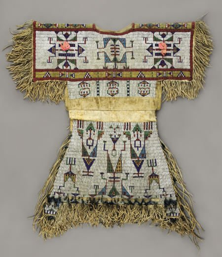 55140: A SIOUX GIRL'S BEADED HIDE DRESS c.  1880  sinew
