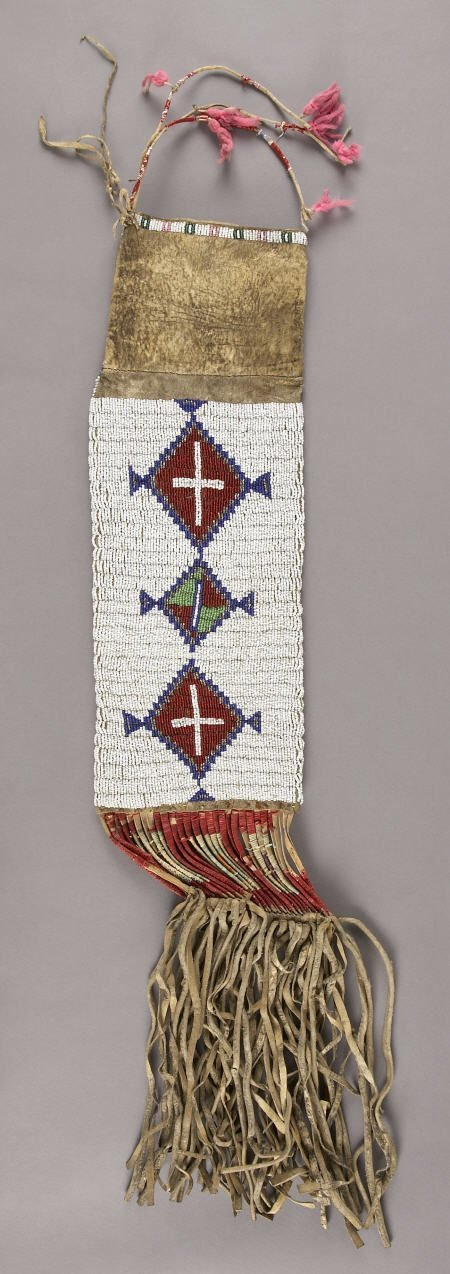 55159: A SIOUX BEADED HIDE TOBACCO BAG c. 1910  sinew s