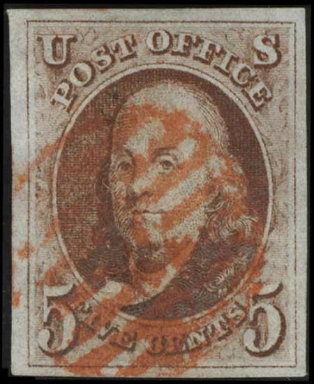 31002: #1, 1847, 5c Red Brn XF 90 PSE. (Used). Red grid