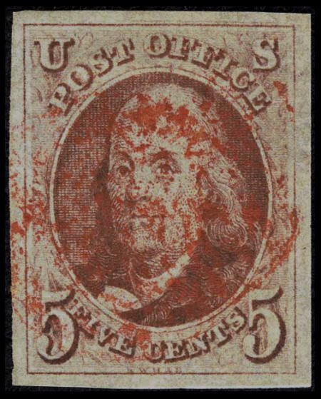 31003: #1, 1847, 5c Red Brown, VF-XF 85 PSE. (Used). Po