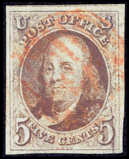 31004: #1, 1847, 5c Red Brown, VF-XF 85 PSE. (Used). Go