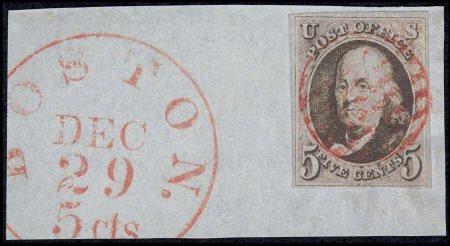 31006: #1, 1847, 5c Brown. (Used). Wonderful used examp