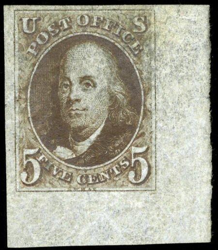 31007: #1a, 1847, 5c Dark Brown, SUP 98J PSE. (Original